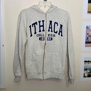 Ithaca College Grey Zip-Up Hoodie